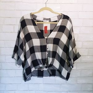 NWT Vestique Cropped Plaid Crop Top with Tie L